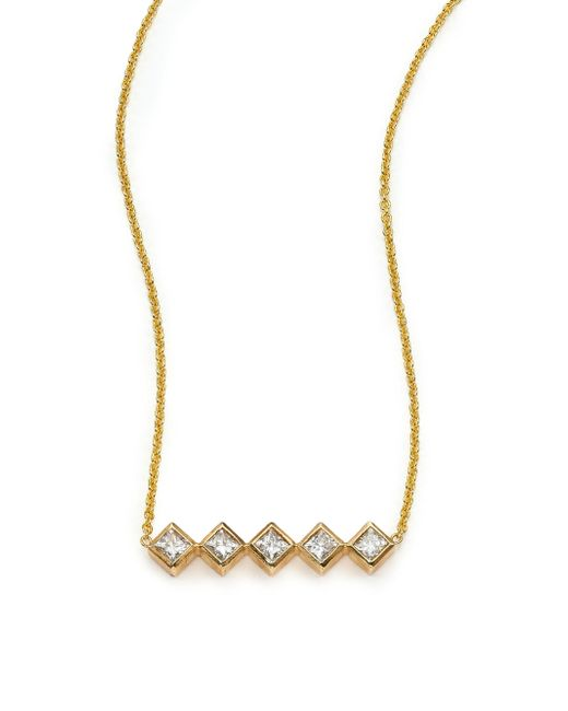 Zoe Chicco | Metallic Diamond & 14k Yellow Gold Princess Necklace | Lyst