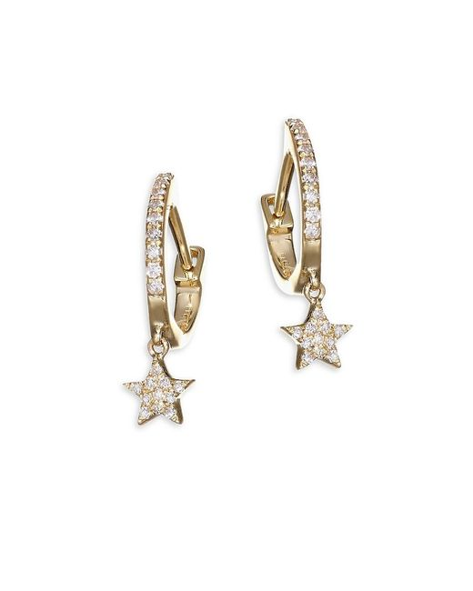 EF Collection Metallic 14k Yellow Gold Star Drop Diamond Huggie Hoops