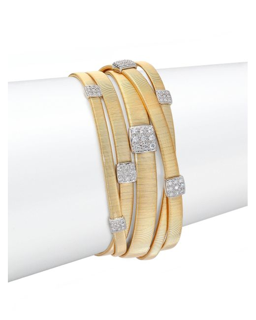 Marco Bicego | Metallic Masai Diamond, 18k Yellow Gold & 18k White Gold Multi-row Bracelet | Lyst