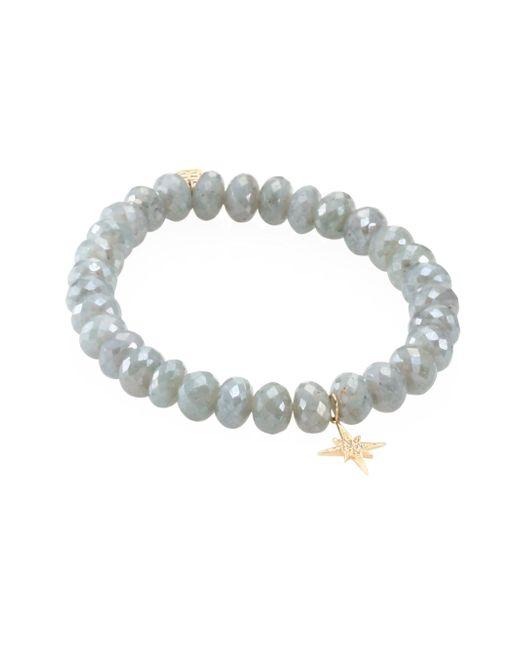 Sydney Evan | Small Starburst Diamond & Blue Silverite Beaded Bracelet | Lyst