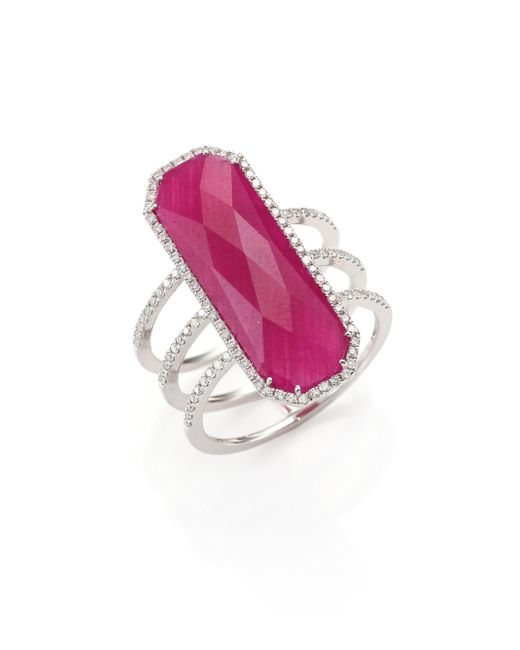Meira T - Pink Ruby, Pavé Diamond, 14k White Gold & Silver Ring - Lyst
