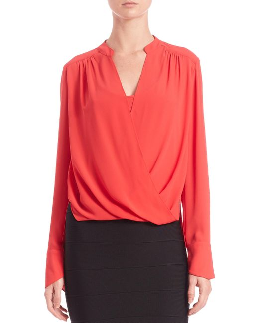 BCBGMAXAZRIA | Red Jaklyn Draped Front Blouse | Lyst