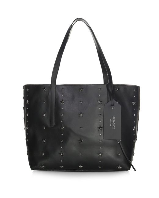 Jimmy Choo - Black Twist East West Star Studded Leather Tote - Lyst