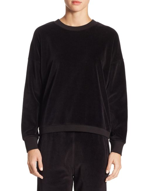 Vince | Black Velour Cotton Sweater for Men | Lyst