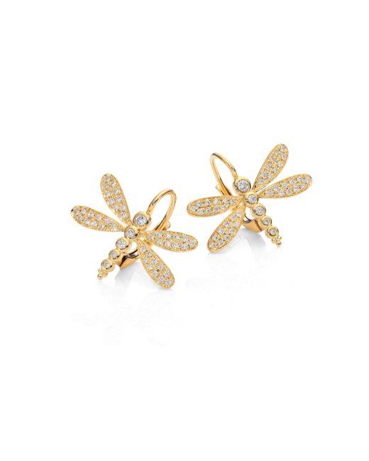 Temple St. Clair - Metallic Dragonfly Pavé Diamond & 18k Yellow Gold Earrings - Lyst