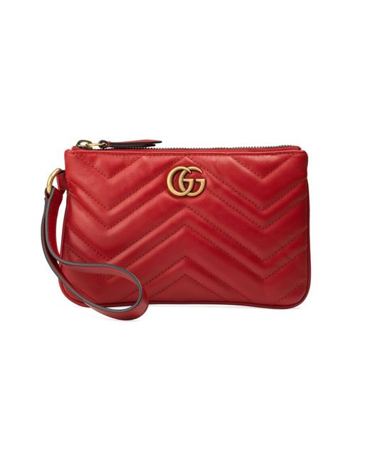 Gucci Red GG Marmont Wrist Wallet