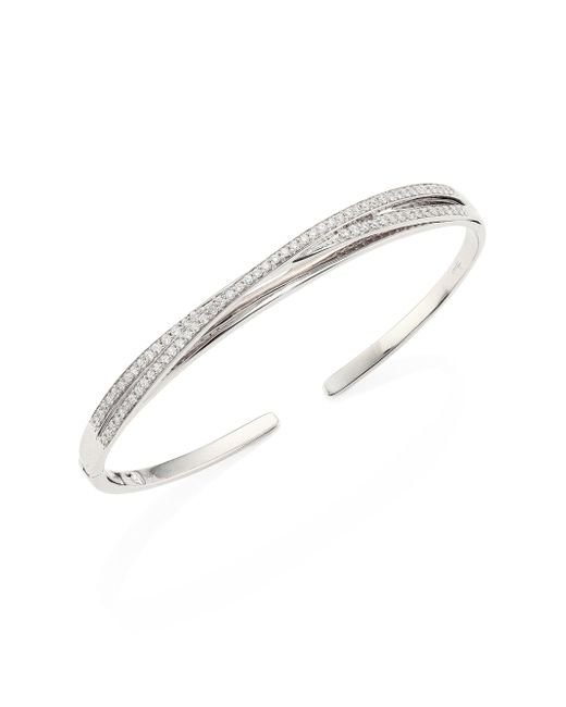 Hueb | Multicolor Wave Diamond & 18k White Gold Open Bangle Bracelet | Lyst