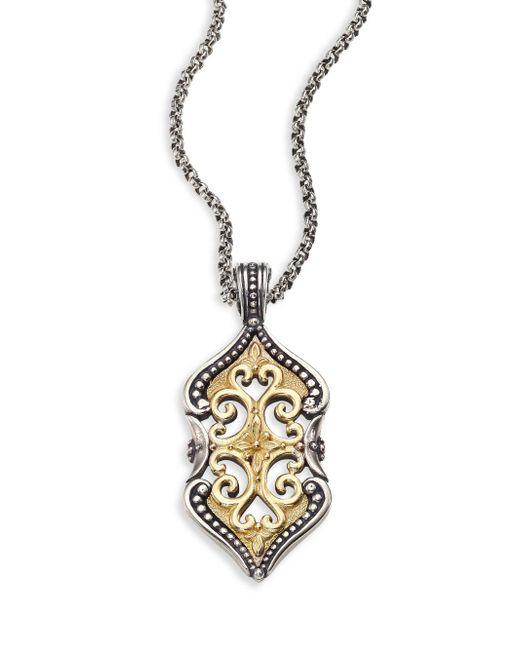 Konstantino   Metallic Hebe Engraved 18k Yellow Gold & Sterling Silver Pendant   Lyst