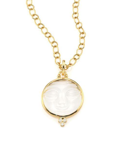 Temple St. Clair - Metallic Celestial Crystal, Diamond & 18k Yellow Gold Moonface Pendant - Lyst