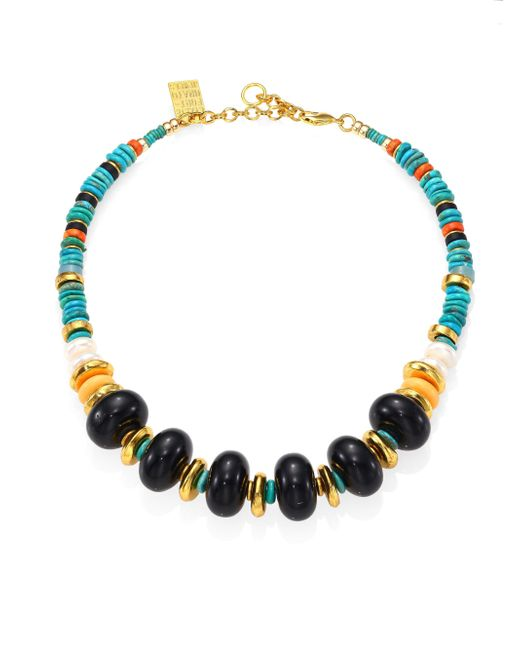Lizzie Fortunato | Multicolor Cienfuegos 14mm White Freshwater Pearl, Turquoise, Amazonite, Coral & Sea Glass Beaded Necklace | Lyst