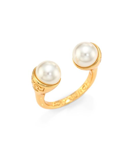Tory Burch | Metallic Faux Pearl Bud Ring | Lyst