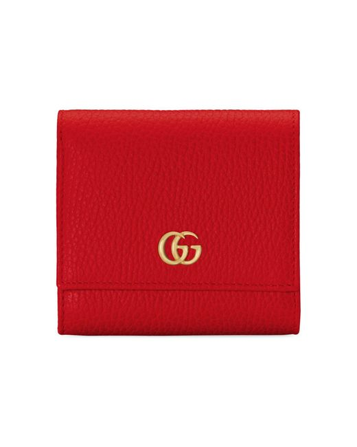 Gucci Red GG Marmont Leather Wallet