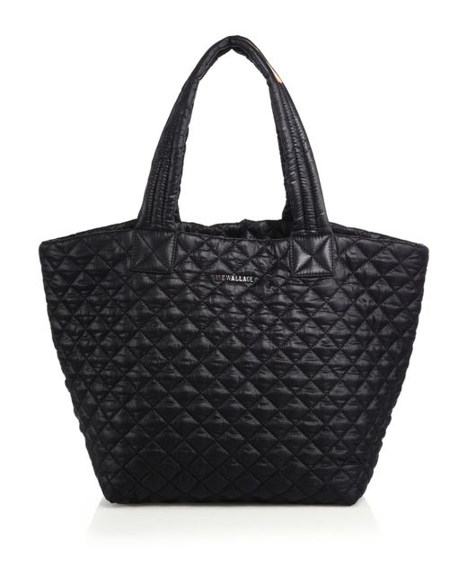 MZ Wallace | Black Metro Medium Quilted Nylon Tote | Lyst
