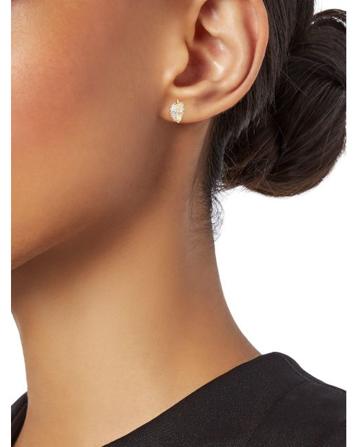 3c19926ff ... Anita Ko - Metallic Women's 18k Gold & Baguette Diamond Palm Leaf Stud  Earrings - Lyst