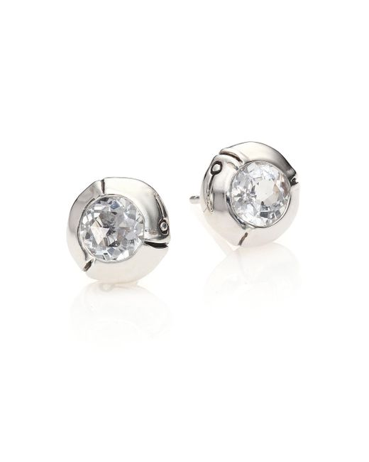 John Hardy - White Bamboo Sterling Silver Stud Earrings - Lyst