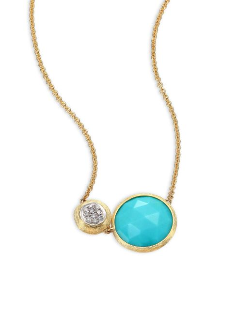 Marco Bicego   Metallic Jaipur Diamond, Turquoise & 18k Yellow Gold Pendant Necklace   Lyst