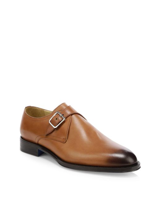 Sutor Mantellassi Brown Namas Single Monk Strap Leather Derby Shoes for men