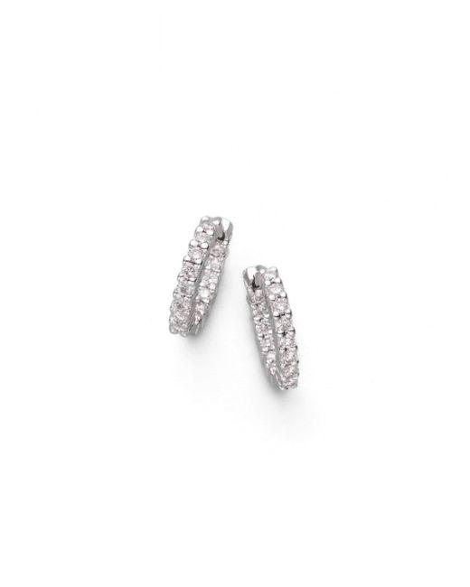 """Roberto Coin - Diamond & 18k White Gold Hoop Earrings/0.50"""" - Lyst"""