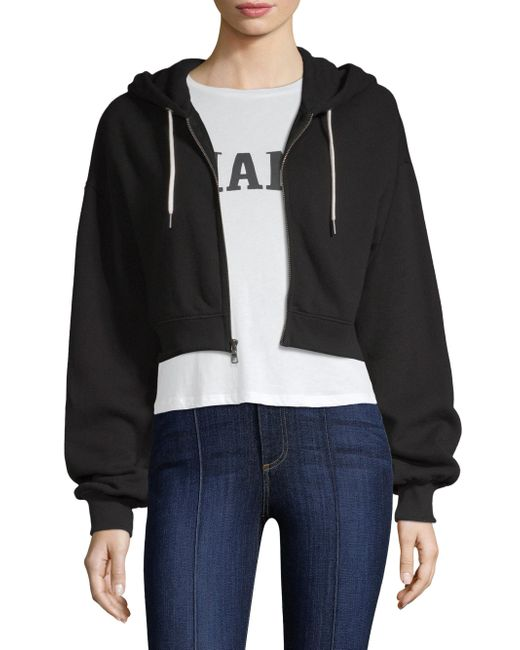 Alice + Olivia - Black Barron Cropped Hoodie - Lyst