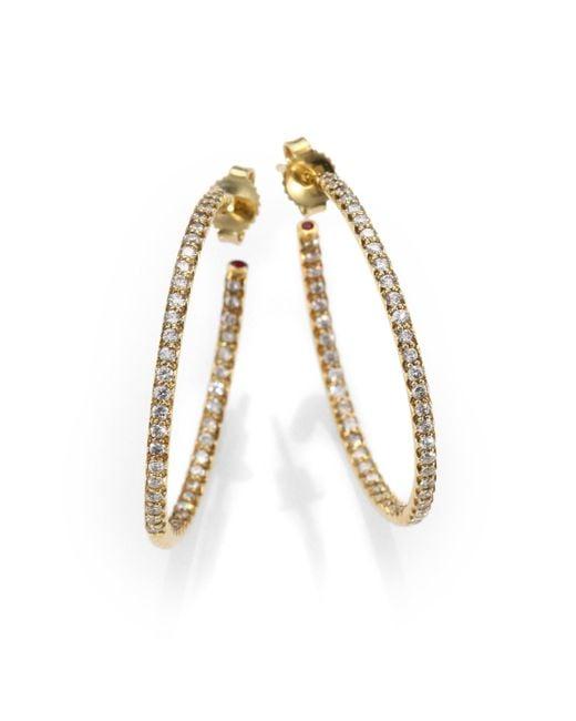 Roberto Coin - Metallic Diamond & 18k Yellow Gold Hoop Earrings/1.2 - Lyst