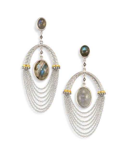Coomi | Metallic Spring Labradorite, Diamond & Sterling Siler Drop Earrings | Lyst