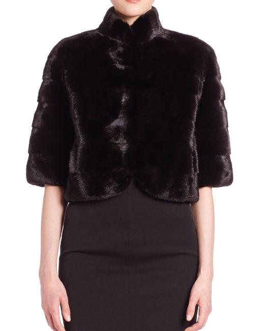 Saks Fifth Avenue - Black Mink Fur Bolero - Lyst