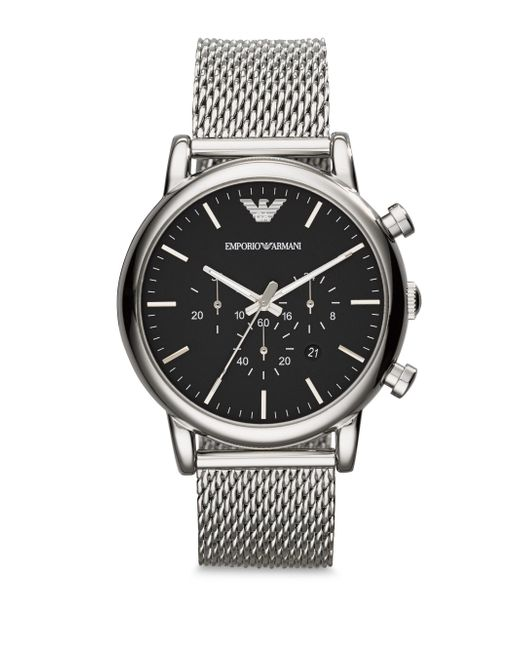 Emporio Armani - Metallic Round Stainless Steel Chronograph Watch for Men - Lyst
