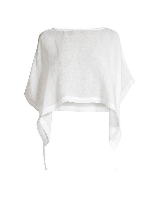 Eileen Fisher White Crop Organic Linen Poncho