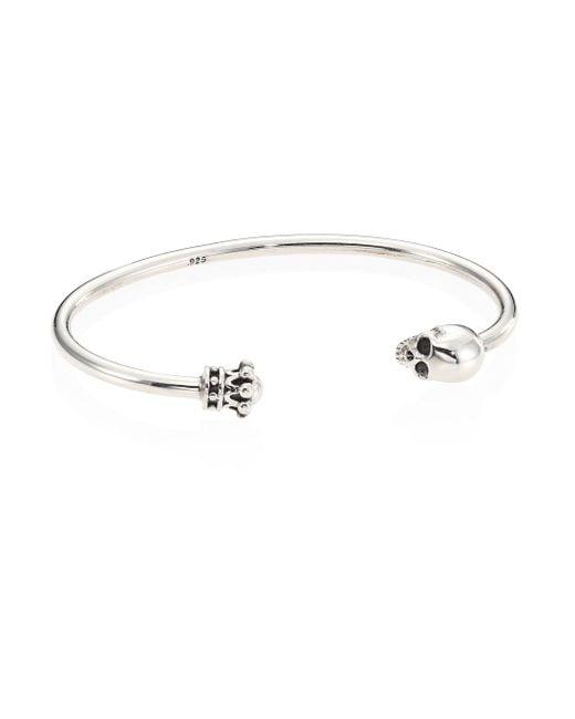 King Baby Studio - Metallic Skull & Crown Sterling Silver Thin Wire Cuff Bracelet - Lyst
