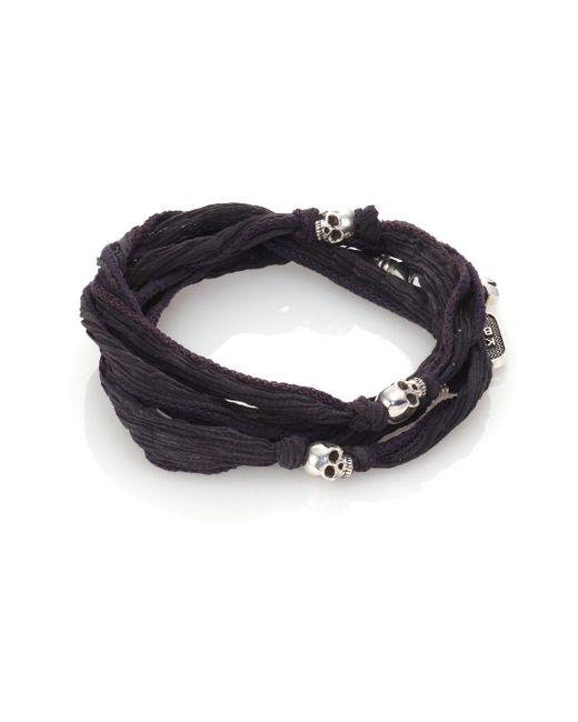 King Baby Studio - Gray Sterling Silver & Silk Skull Wrap Bracelet for Men - Lyst