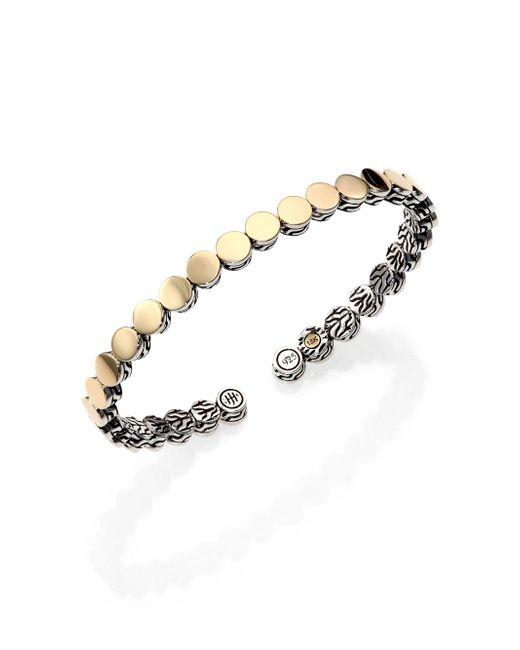 John Hardy - Metallic Dot 18k Yellow Gold & Sterling Silver Cuff Bracelet - Lyst