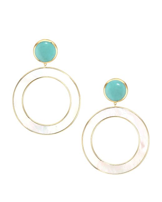 Ippolita Metallic Polished Rock Candy® Turquoise, Mother-of-pearl & 18k Yellow Gold Round Drop Earrings