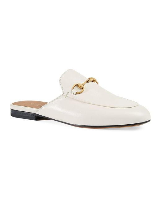 Gucci White Leather Slippers