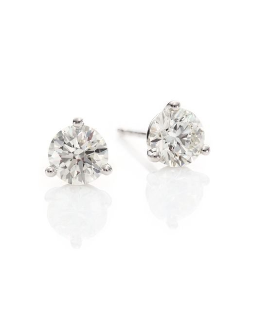 Hearts On Fire - Metallic Diamond & 18k White Gold Three-prong Stud Earrings - Lyst