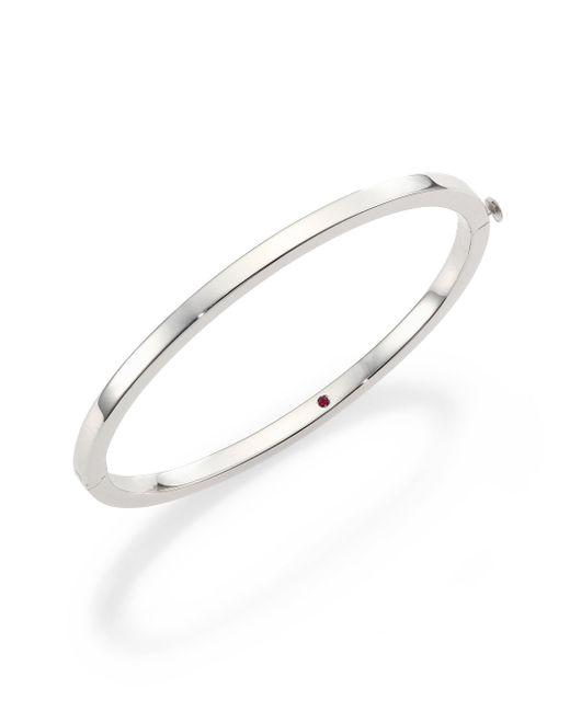 Roberto Coin Metallic 18k White Gold Oval Bangle Bracelet