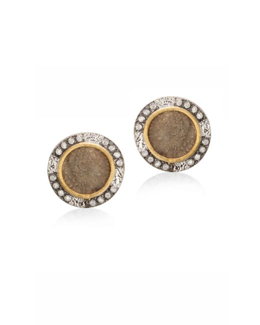 Coomi - Metallic Coin Diamond, 20k Yellow Gold & Sterling Silver Stud Earrings - Lyst