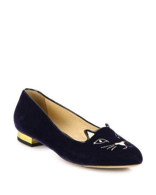 Charlotte Olympia - Blue Kitty Velvet Flats - Lyst