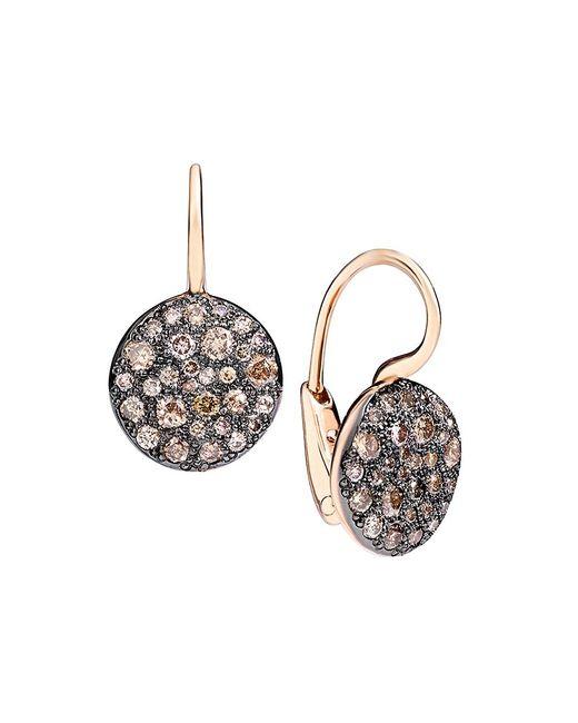 Pomellato Pink Sabbia Brown Diamond & 18k Rose Gold Drop Earrings