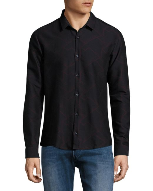 HUGO   Blue Ero3 Geometric Print Shirt for Men   Lyst