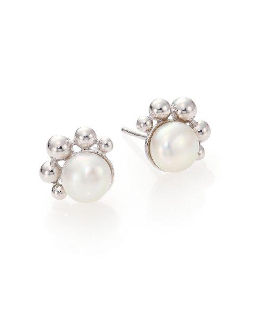 Anzie | Dew Drop Bubbling Brook 8mm White Mabe Pearl Stud Earrings | Lyst