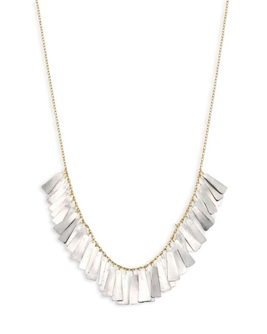 Sia Taylor - Metallic Feather 18k Yellow Gold & Platinum Necklace - Lyst