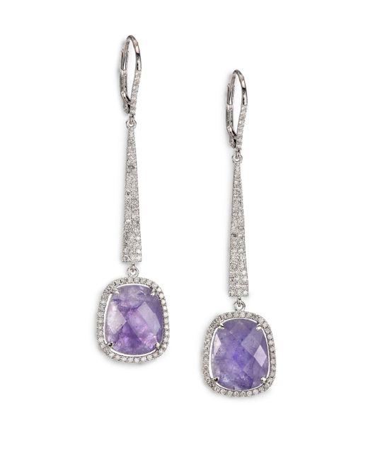 Meira T | Purple Tanzanite, Diamond & 14k White Gold Drop Earrings | Lyst