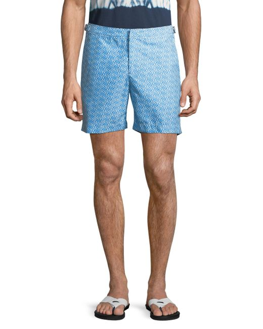 Orlebar Brown - Blue Bulldog Themis Graphic-print Shorts for Men - Lyst