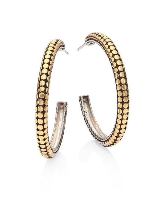 John Hardy | Metallic Dot 18k Yellow Gold & Sterling Silver Hoop Earrings/1.4 | Lyst