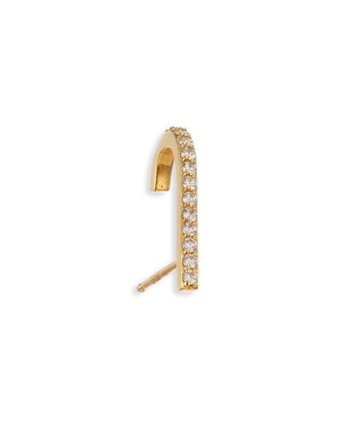 Paige Novick - Metallic Tplt Diamond & 18k Yellow Gold Single Hook Stud Earring - Lyst