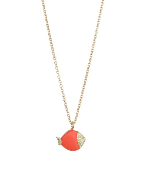 Nayla Arida - Metallic 18k Yellow Gold Carved Coral & White Diamonds Mini Fish Pendant Necklace - Lyst