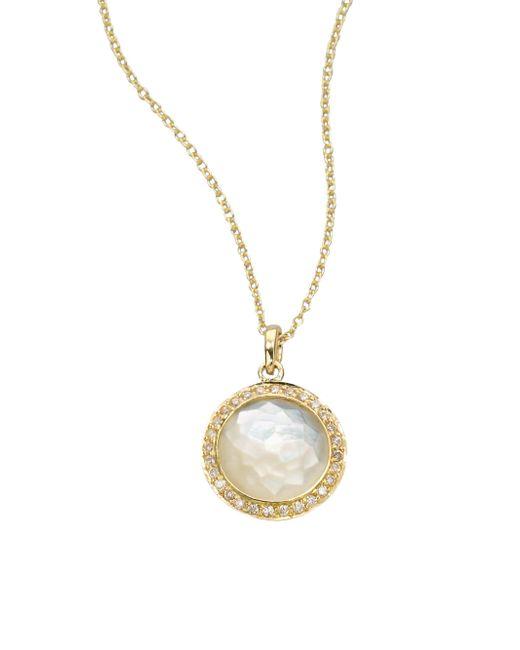Ippolita - Metallic Lollipop Mother-Of-Pearl, Diamond & 18K Yellow Gold Mini Pendant Necklace - Lyst