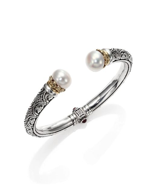Konstantino - Metallic Hermione 15Mm White Pearl, 18K Yellow Gold & Sterling Silver Cuff Bracelet - Lyst