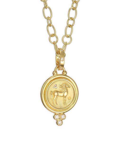 Temple St. Clair - Metallic Diamond & 18k Yellow Gold Horse Coin Pendant - Lyst