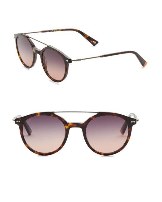Web - Brown 50mm Round Havana Sunglasses - Lyst